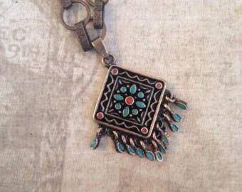 Copper Tile Chain Necklace