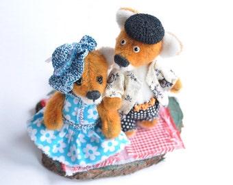"""PDF fox sewing Pattern - Artist miniature Teddy Bear Fox - ePattern Instant Download - PDF Pattern  - miniature FOX 3.4"""" (8.5 cm)"""