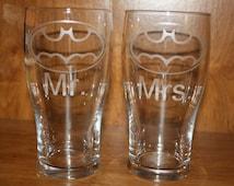 Two Etched Batman Wedding Pint Glasses