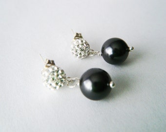 Pearl earrings Black pearl earrings Pearl earrings studs Pearl jewelry Sterling silver crystal earrings Black pearl jewelry Gift for her