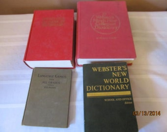 Lot of 4 Vintage Books Websters New American Dictionary Language Games Webster New World Dictionary