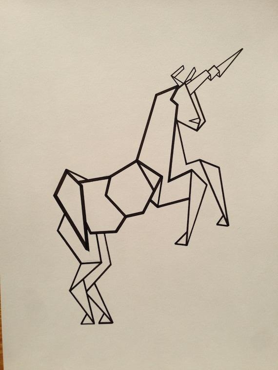 Items Similar To Illustrated Geometric Unicorn Poster On Etsy