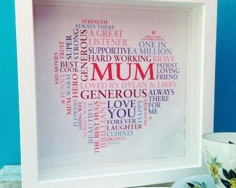 Framed Personalised Print: Mum word art print