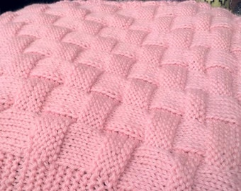 REALISTIC Basket Weave Knit Pattern -  In Baby Blanket or  Knitting Alone - Small Med or Large Options Crib Throw Carry Sizes