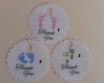 "2"" Scalloped Round Baby Shower Favor Thank You Footprint Hang Gift Tags"