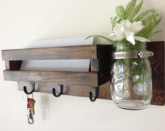 Rustic mail organizer key rack with mason jar, wall mail sorter and key holder, mail holder, entryway organizer, mason jar vase, key hooks