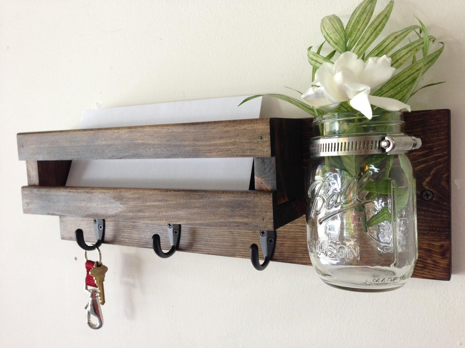 Rustic Mail Organizer Key Rack With Mason Jar Wall Mail