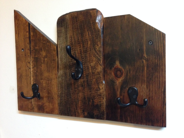Rustic wood coat rack Reclaimed wood wall mount coat rack