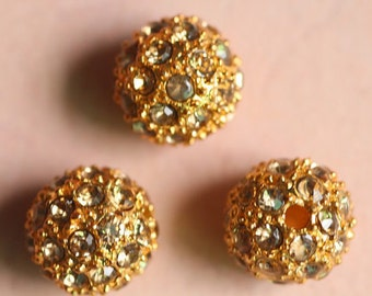 20PCS of 10mm/12mm Gold Plated Bead Pave Clear Crystal Rhinestone Disco Ball Loose Beads Spacer Findings