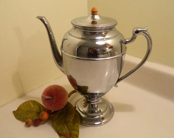 On Sale.......Art Deco Chrome and Stainless Coffee Pot With Bakelite on Lid