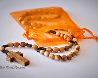 Olive wood rosary Oval beads brown cord rope natural cross made in holy land - Nazareth