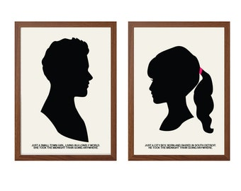 GLEE | Just A Small Town Girl Poster : Finn + Rachel Modern Illustration TV Series Retro Art Wall Decor Cory Monteith and Lea Michelle