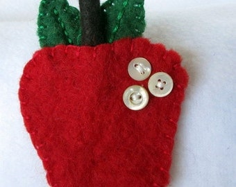 Red Apple Brooch. Felted Wool Pin  Vintage Buttons