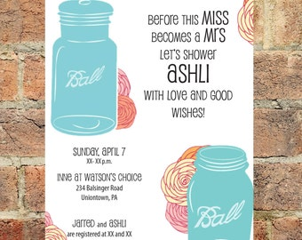 Mason Jar Wedding Shower Invite