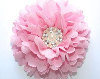 "3.5"" Pink Peony With Rhinestone Pearl Center 1 Piece"
