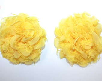 "3.75"" Yellow Chiffon Tulle Flower 2 Pieces"