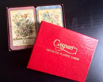 Vintage playing cards - caspari playing cards - jumbo playing cards - Vintage floral caspari playing cards - vintage double deck, cartomancy