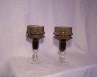 ON SALE! Charcoal and Crystal Optic Glass Goblets
