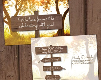 Country/Farm Wooden Signs Wedding Invitation Reply Postcard