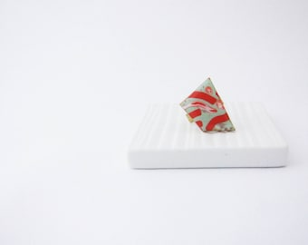 Geometric ring . Mint orange ring. Geo ring