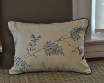 """embroidered pillow cover with trim and contrast back 19"""" x 14"""""""