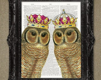 Owl King & Queen wearing Crowns Art Print. A beautiful owl dictionary art print - recycled and repurposed for the planet.