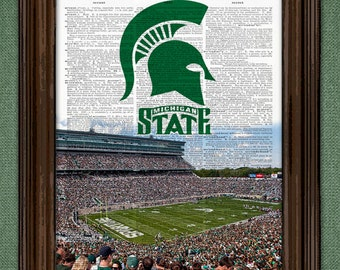 Michigan State Football Dictionary Art Print - Spartan Football Stadium-upcycled dictionary page book art print. Buy any 3 get 1 free