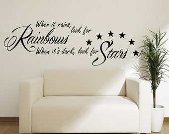 When it Rains look for Rainbows Wall Sticker Vinyl Quote for Bedroom 100x55