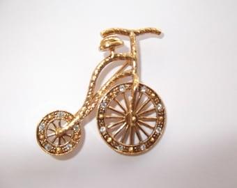 Vintage Bicycle Brooch with rhinestones