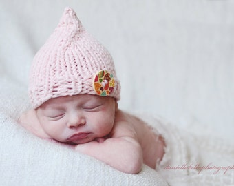 Soft Baby Hat, Baby Pixie Hat, Newborn Photo Prop Hat, Newborn Baby Photo Prop Pixie Hat with Button, PInk - Ready to Ship