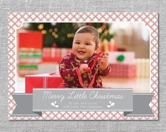 Photo Holiday Card   DIY Printable or Printed   Merry Little Christmas   Baby's First Christmas   5x7