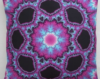 """Stunning psychedelic, fractal, kaleidoscopic, digitally printed cotton cushion\throw pillow cover, very """"trippy"""",measures 18in x 18in."""