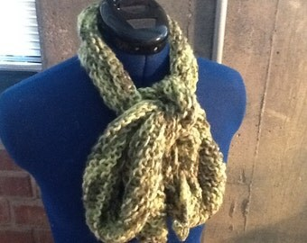 Lime green, diagonal knit scarf.