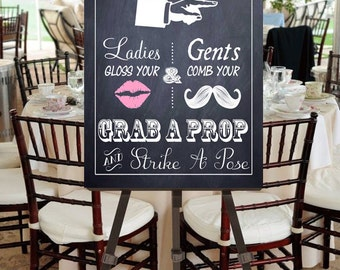 """Instant Download- Printable PDF JPEG DIY Chalkboard Wedding Sign: """"Fancy Photobooth"""" Large 20"""" x 30"""" Signage With Pink Lips"""