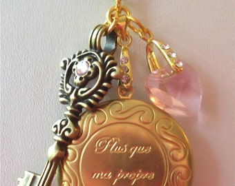 "Twilight inspired locket engraved  ""Plus que ma propre vie"" in brass in pink"