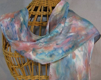 """Silk Scarf """"Painted Desert"""", Hand Painted Scarf, Blue and Pink Scarf"""