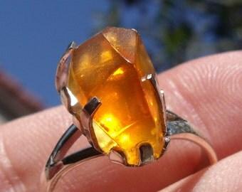 Opal gem taxco silver ring sz 7.0