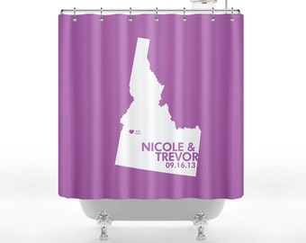 Shower Curtain - Idaho State Love Map In Radiant Orchid Pantone, Wedding, Engagement  - Personalized for Your Bathroom
