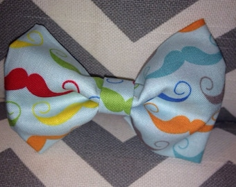 Baby boy bow tie-Mustache bow tie-turquoise with rainbow mustaches-clip-on