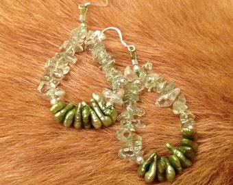 Green Keshi Pearls and Presiolite Chip Earrings with 925 Sterling Silver Shepherd Hooks