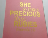 """Nursery gold Bible verse print """"She is more precious than rubies""""  Proverbs 3:15 8x10 Gold on rose pink"""