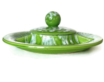 Vintage Ceramic Divided Dish, Lime Green, White, Covered Dish, Appetizers, Retro