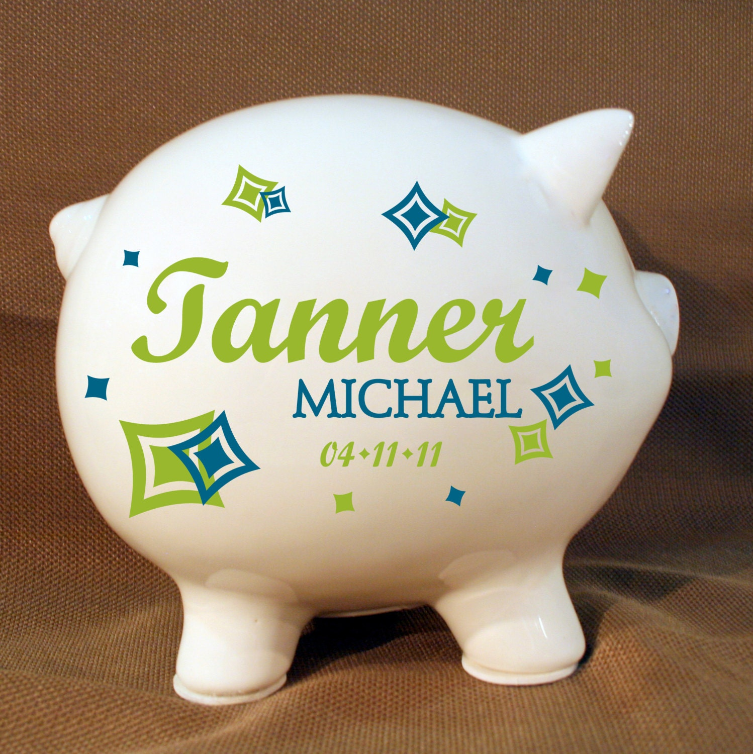 8 boys personalized piggy bank with vinyl decal by levinyl - Coin banks for boys ...
