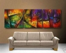 3 Piece Large Abstract Painting, Vibrant Painting, Large Wall Art, Office Art or Home decor, vibrant abstract painting, colorful painting