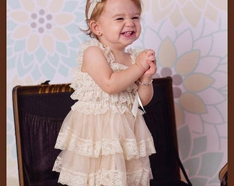Cream ivory lace layered petti dress vintage lace dress bridesmaid flower girl dress - cream flower girl dress - cream lace petti dress