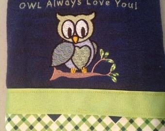 """Custom """"OWL"""" Always Love You Burp Cloth"""