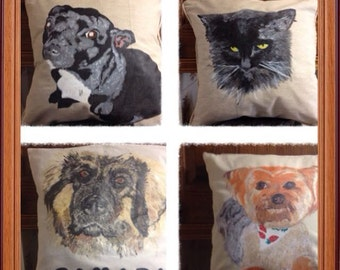 personalised hand paint pet cushions
