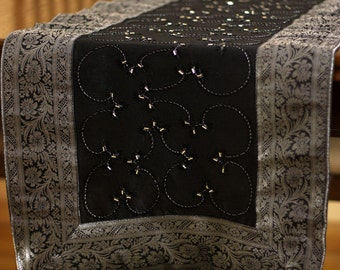 Nice Hand Embroidered 120 Inch By 17 Inch Long Table Runner (Mystic Black)