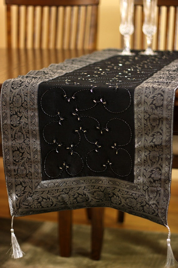 Hand embroidered 120 inch by 17 inch long table runner mystic for 120 inches table runner