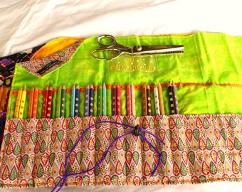 Large Pencil Roll, holds 15 to 30 pencils, free name embroidery